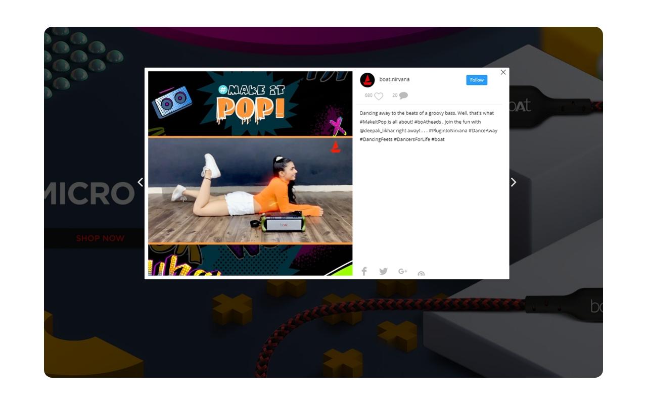 instagram feed modal popup
