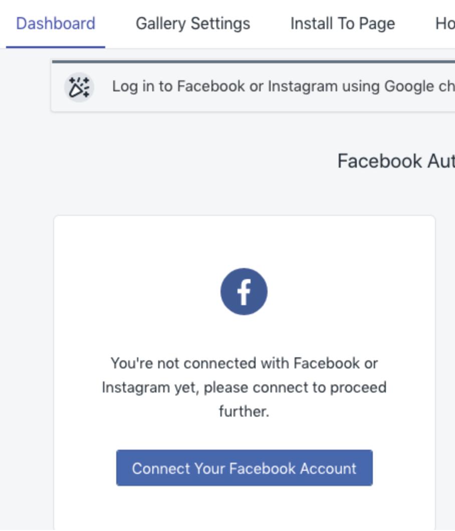 authorize instapics for instagram feed