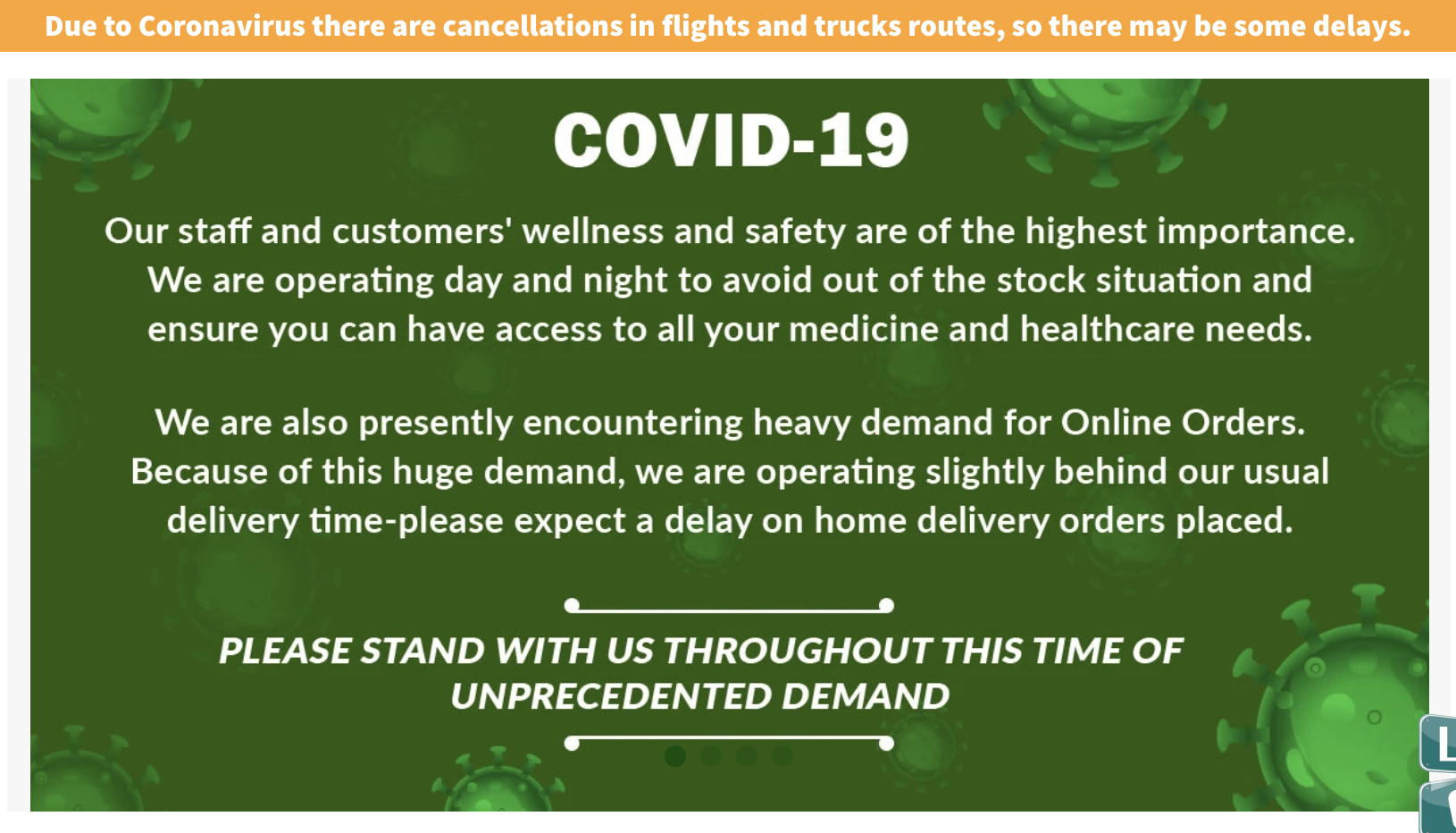 covid-19 information banner